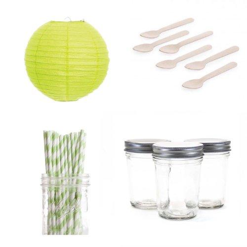 Dress My Cupcake Lanterns Dessert Table Party Kit, Includes Half Pint 8-Ounce Mini Mason Jars with Kiwi Green Striped Straws