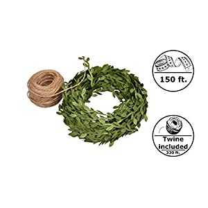 Artificial Vines Fake Greenery Green Ivy Garland + Jute Twine Ribbon - for Wedding, Garden Party, Home Decor, Decorative Garlands, Wreaths, DIY Hanging Plants Craft 112