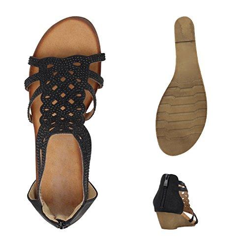Stiefelparadies - Sandalias de Punta Descubierta Mujer Negro - negro