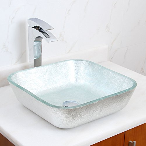 Elite Square - ELITE Crystal Glass Square Artistic Silver Tempered Glass Bathroom Vessel Sink