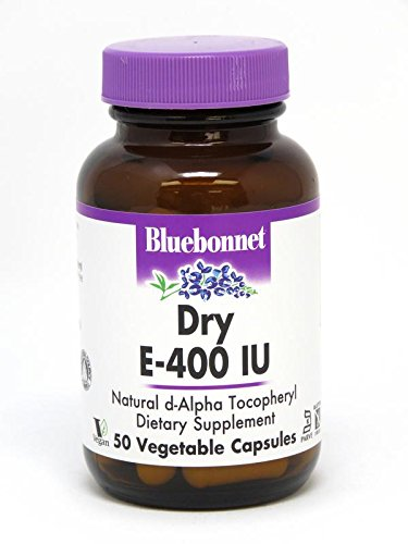 Vitamin E 400 50 Capsules - BlueBonnet Dry E-400 IU Vegetable Capsules, 50 Count