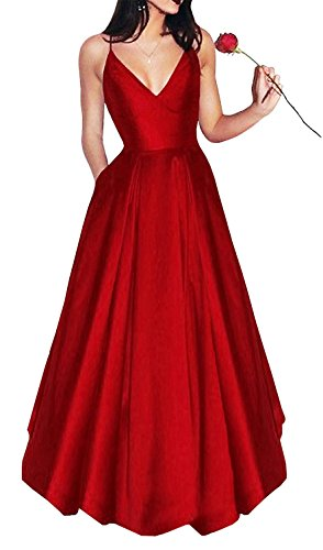 Yangprom Long Spaghetti Straps V-Neck Satin A-line Prom Dress with Pockets (14, Red)