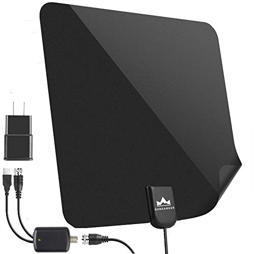 【2019 Latest】 HDTV Antenna Indoor Digital TV Antenna, DUMSAMKER 60-80 Miles Range HD Antenna with Amplifier Signal Booster and 13FT Coaxial Cable - Extremely High Reception