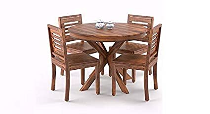 Krishna Wood Decor Sheesham Wood Dining Table 4 Seater Round Dining Table With 4 Chairs Dining Room Furniture 1 Year Warranty Natural Brown Amazon In Home Kitchen