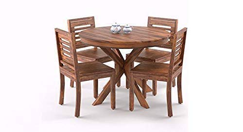 Solid Wood Dining Table 4 Seater with Chairs  Round Dining Table with 4 Chairs   Dining Room Furniture   Dining table 4…