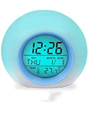 Arespark Kids Alarm Clock, 7 changing Color Electronic Bedrooms Alarm Clock, Children's LED Night Light Clock with Wake Up Function, Birthday Gifts for child, Snooze Function, Backlight, Night Light, Temperature, Date Display, Battery Powered (Not Included)