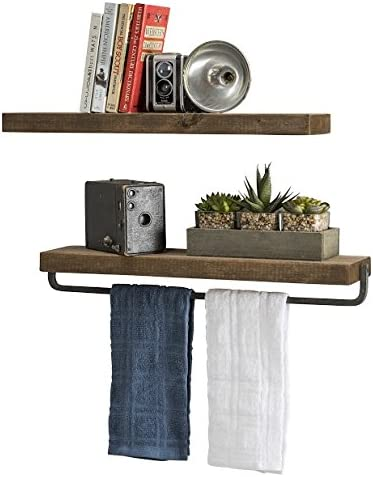 Del Hutson Designs Handmade Rustic Pine Wood 2 x 24 x 5.5-inch Floating Shelves with Towel Bar Walnut