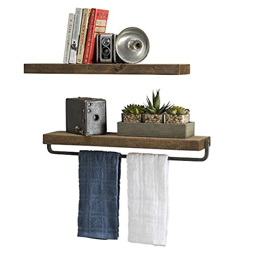 del Hutson Designs Handmade Rustic Pine Wood (2 x 24 x 5.5-inch) Floating Shelves with Towel Bar (Walnut) ()
