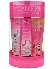 Calgon Japanese Cherry Blossom 4 Pc. Gift Set (Body Mist 8 Oz + Body Cream 8 Oz + Body Wash 7 Oz + Shower Pouf) for Women By 1 Pounds (109227)