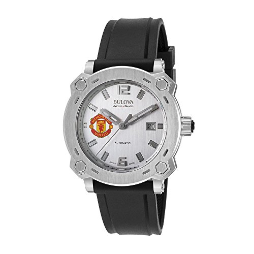 Men's Bulova Watch Stainless Steel AccuSwiss Automatic w/ Silver Dial and Manchester United Crest