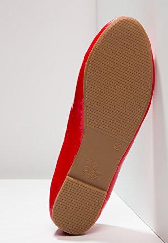 Even&Odd Ballerina Für Damen - Flache Damenballerinas Elegant in Hochwertiger Leder-Optik - Schicke, Flache Ballerinas - Glänzende Uni Flat Slippers Rot