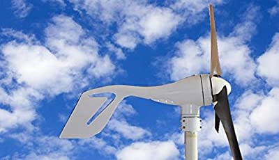 12V/24V 400 Watt 400 W Wind Turbine Generator 12V DC White 3 Blades Wind Turbine Kit Residential with Hybird Charge Controller, Agriculture & Marine. DIY Installation Providing Off-grid Green Energy Power