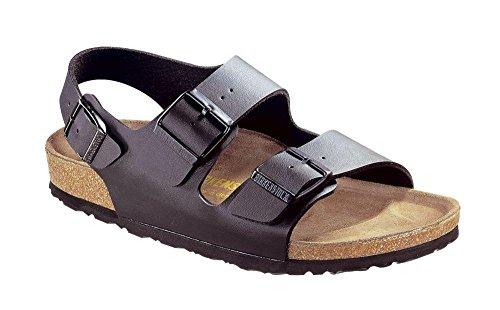 Sandals Womens Holiday (Birkenstock Womens Milano Birko-Flor Strappy Beach Summer Holiday Sandal - Black - 5)