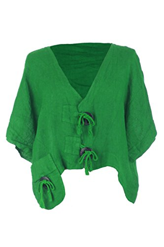 TEXTURE Ladies Women Italian Lagenlook Wooden Button Pocket Crop Linen Jacket Shrug Bolero Cardigan One Size (Emerald Green, One Size) 2 Piece Bolero Jacket
