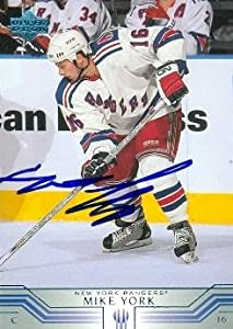 Autograph Warehouse 68195 Mike York Autographed Hockey Card New York Rangers 2002 Upper Deck No. 345