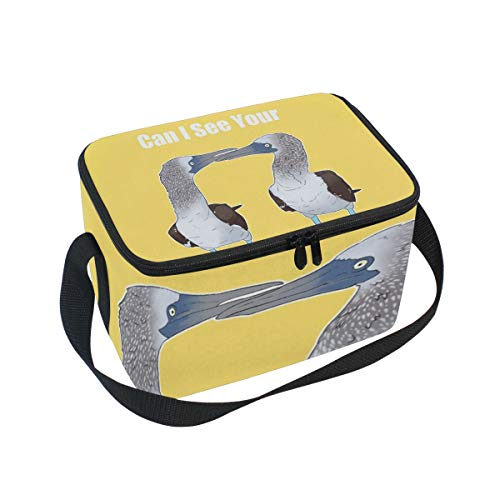 Footed Wine Cooler (Lunch Bag Blue-Footed Boobies, Large Insulated Bento Cooler Box with Black Shoulder Strap for Men Women Kids, BaLin 10