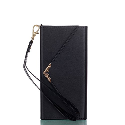 Galaxy S8 Leather Cover Wallet Case, Tiamat Envelope Design Flip Case for Samsung Galaxy S8, Ultimate Durable Leather with Card Holder Slot - Black