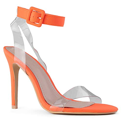RF ROOM OF FASHION Women's Open Toe Clear Ankle Strap Dress Party Stiletto High Heel Sandals NEON Orange Size.9