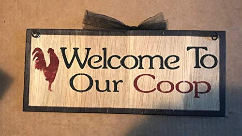 Country Chicken Rooster Welcome to Our Coop Wall Home Decor Kitchen Wooden Sign Home Decor tokocuriousity