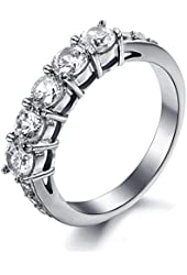 MoAndy Jewelry Stainless Steel CZ Women's Engagement Rings
