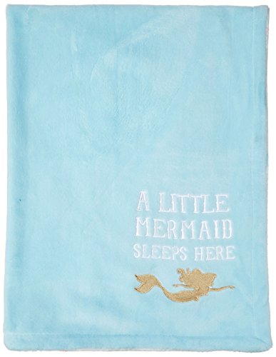 Disney Ariel Sea Princess Embroidered Fleece Velboa Blanket, Blue/White/Gold/Pink (Blanket Fleece Baby Embroidered)