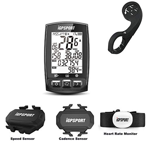 Wireless GPS Bike Computer, iGPSPORT Cycling GPS Computer with Chest Strap HRM + Speed Sensor + Cadence Sensor + Out-Front Bike Mount with ANT+ Bluetooth Function