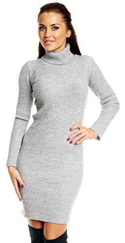 Zeta Ville - Womens Stretch Ribbed Knit Dress Roll Turtle Neck Long Sleeve 417z (Light Grey, 6/10)