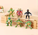 Teenage Mutant Ninja Turtles | Action Figure Collectible Toy weapons | [Raphael, Michelangelo, Donatello and Leonardo,Splinter, Foot Soldier] | Cake Toppers | Party Favors- 6 Pcs (Classic Version)