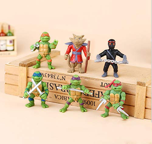 Teenage Mutant Ninja Turtles | Action Figure Collectible Toy weapons | [Raphael, Michelangelo, Donatello and Leonardo,Splinter, Foot Soldier] | Cake Toppers | Party Favors- 6 Pcs (Classic Version) -
