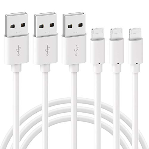 Phone Charger Budget & Good Charger Cable 3 Pack 3FT Fast Charger Charging Cable Cords Compatible with Phone X 8 8 Plus 7 7 Plus 6 6S 6 Plus 5S SE Pod Pad Mini, White