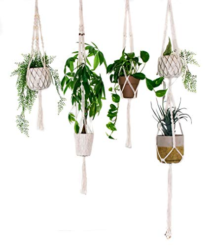 BABY PANDA- Dreamy Macramé Plant Hangers! Set of 4 Plant Hangers, Assorted Sizes. This is A Steal of A Deal! Comes with Four Unique and Gorgeous Designs and Assorted Sizes
