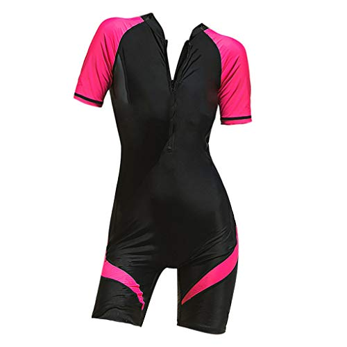Women Wetsuit Surfing Swimwear Slim Diving Suit Summer Snorkeling Swimsuit Jumpsuit (XL, Red)