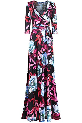 Bon Rosy Women's #MadeInUSA 3/4 Sleeve V-Neck Printed Maxi Faux Wrap Floral Dress Summer Wedding Guest Party Bridal Baby Shower Maternity Nursing Black Magenta XL
