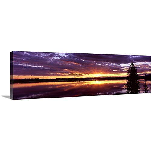 GREATBIGCANVAS Gallery-Wrapped Canvas Entitled Storm Clouds Over a Lake at Sunrise, Jenny Lake, Grand Teton National Park, Wyoming by 90