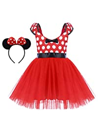 OBEEII Minnie Costume Little Girl Birthday Tutu Dress Ear Headband Christmas Dress Up