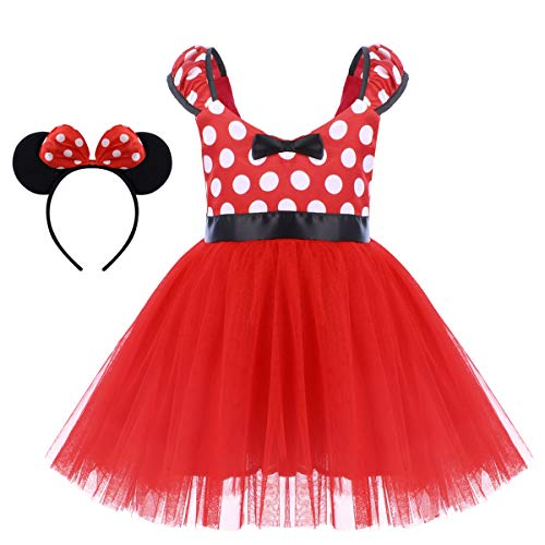 Minnie Costume for Toddler Little Girl Tutu Skirt Mouse Ear Headband Polka Dot First Birthday Halloween Costume Princess Outfits X# Red Short Dress+Headband 4-5 Years]()