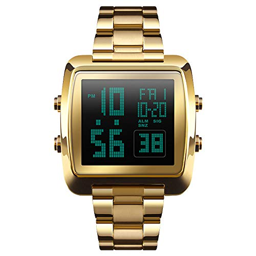 Dual Timer Time Stopwatch Countdown - ALCADAN Men's Multi-Function Digital Sport Watch Dual-Time Stopwatch Countdown Alarm Watch for Men (Gold)
