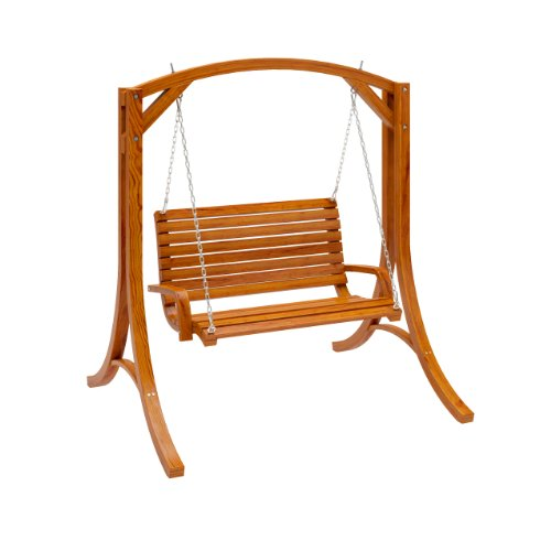 CorLiving PWC-331-S Wood Canyon Cinnamon Brown Stained Patio Swing