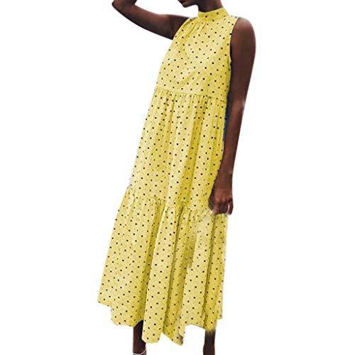 Outique Women Dress Sleeveless Dot Print Loose Hem Dress Holiday Casual Beach Long Dress Summer Swing -