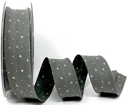 Safisa - Cinta al bies en Espiral (100% algodón, 30 mm, 2 m), diseño de Estrellas, Color Gris Este es un Corte de un Rollo, presentado en una Tarjeta de Berties Bows.: Amazon.es: Hogar