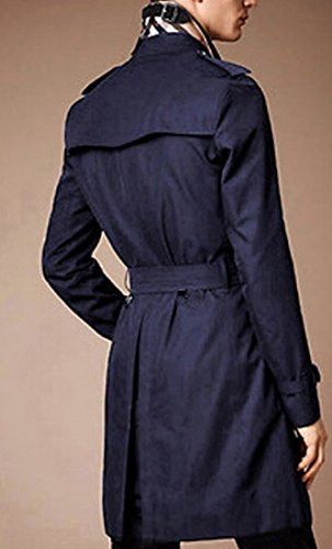 Belted Via Coat Wool (Toping Fine Men's Premium Double Breasted Belted Business Coat Winter Jacket Fashion Navy BlueChina Large)