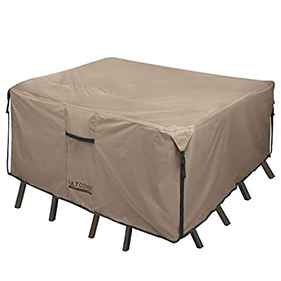 ULTCOVER 600D PVC Durable Patio Table Cover - Waterproof Outdoor Furniture Covers - Brown