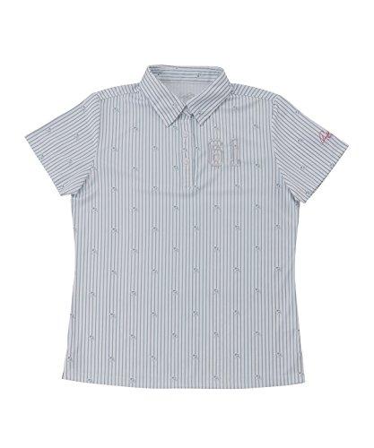 アーノルドパーマー レディース ゴルフ ポロシャツ 半袖 ストライプ傘半袖シャツ AP220301H04 GY L
