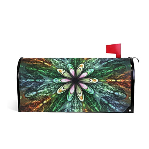 WOOR Color Fractal Flowers Fantasy Magnetic Mailbox Cover MailWraps Garden Yard Home Decor for Outside Standard Size-18