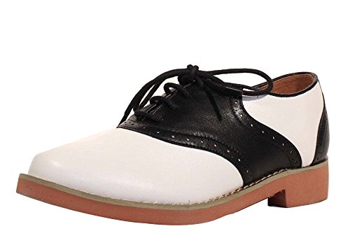 Chelsea Crew Retro Sally Two Tone Saddle Oxford Flats (7, Black) (Saddle 1950s Womens Shoes)