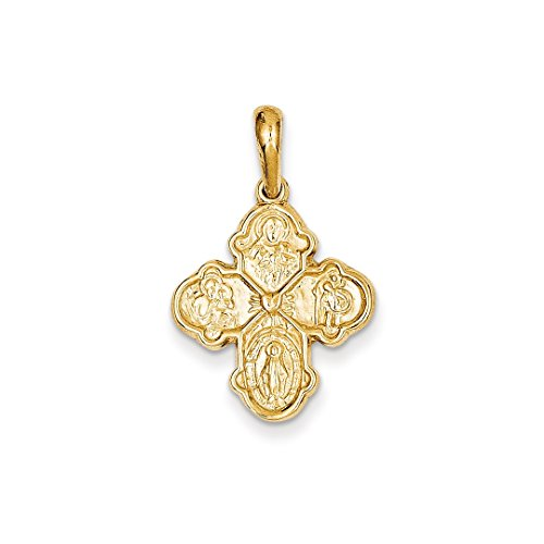 ICE CARATS 14kt Yellow Gold Four Way Medal Pendant Charm Necklace Religious Fine Jewelry Ideal Gifts For Women Gift Set From Heart 14kt Gold 4 Way Medal