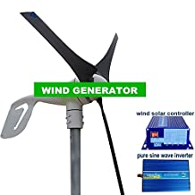 GOWE Max power 600W 12v /24v cheapest wind generator +600w wind solar controller+600w pure sine wave inverter