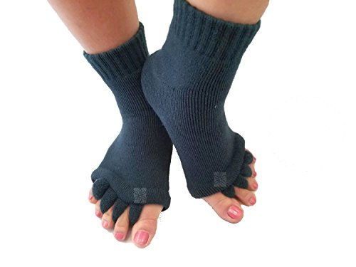 Toe Separator Yoga Gym Sports Massage Socks for Foot Alignment, Great for Sore Feet and Diabetics by TRiiM Fitness with FREE Exercise guide! (Happy Feet Socks)