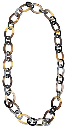 Marycrafts Womens Handmade Buffalo Horn Fashion Oval Long Chain Necklaces]()