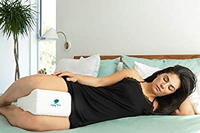 Sciatic Nerve Pain Relief Knee Pillow - Best for Pregnancy, Hip, Leg, Knee, Back and Spine Alignment - Memory Foam Orthopedic Leg Pillow Wedge with Washable Cover + Free Storage Bag (Large Size)